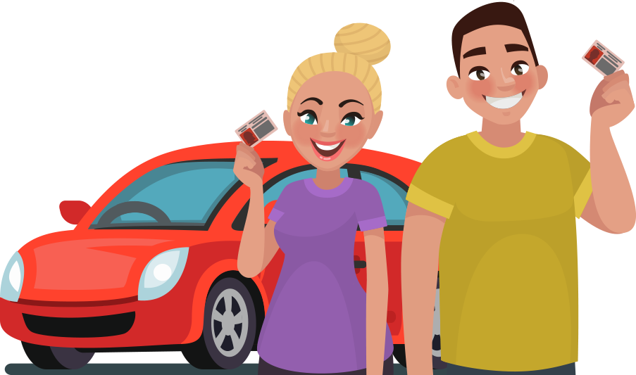Cartoon characters with driving licenses