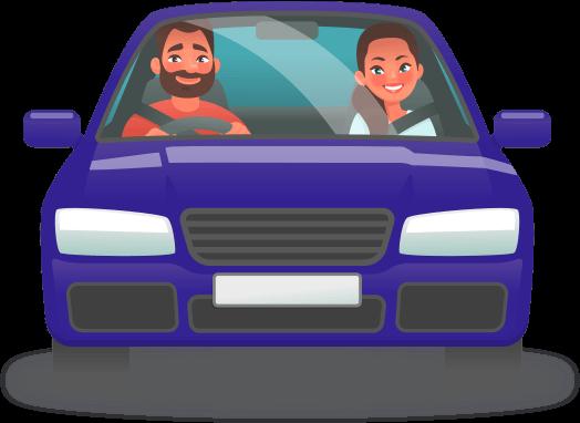 Cartoon blue car