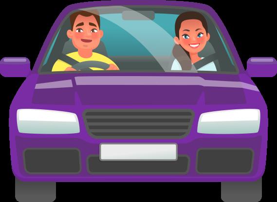 Cartoon purple car