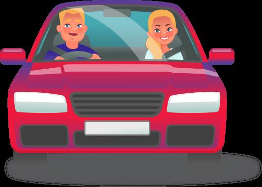 Cartoon people in car